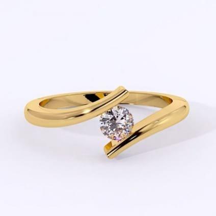 Разомкнутое золотое кольцо с 1 бриллиантом