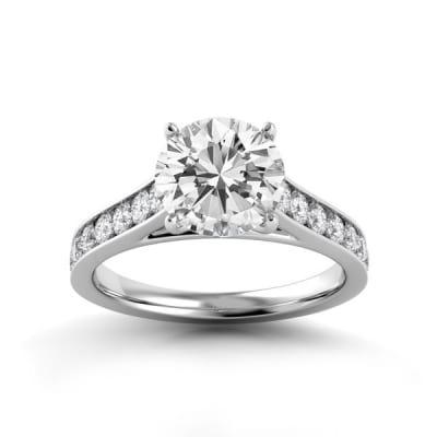 Белое золото с центральным бриллиантом 1 карат кольцо