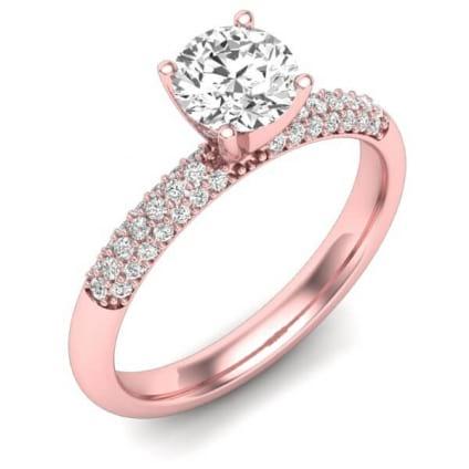 Помолвочное кольцо розовое золото с бриллиантом 1 карат