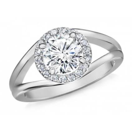Кольцо с бриллиантом 1 карат в ободке