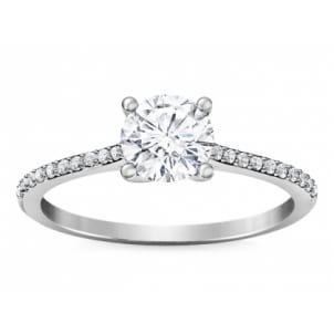 Помолвочное кольцо с центральным камнем и дорожкой бриллиантов