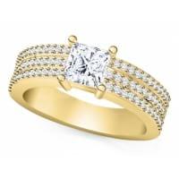 Широкое кольцо с бриллиантом Принцесса
