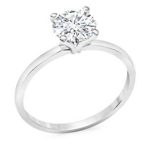 Нежное тонкое кольцо с бриллиантом 1 карат