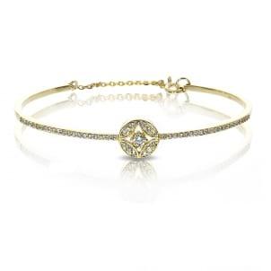 Тонкий золотой браслет с бриллиантами