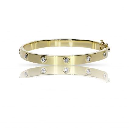 Браслет в желтом золоте с бриллиантами 0.50
