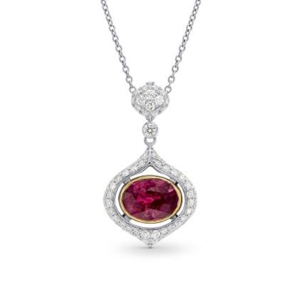 Бриллиантовый кулон с большим рубином 2.16 карата