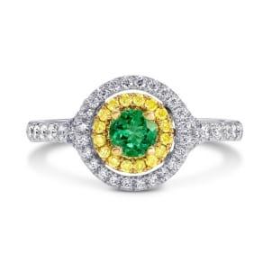 Бриллиантовое кольцо с ярко зеленым изумрудом 0.25 карат
