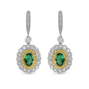 Серьги с ярко зелеными изумрудами 0.87 карат и желтыми бриллиантами