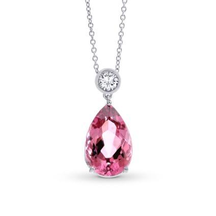 Бриллиантовые кулон с большим розовым турмалином 4.66 карат