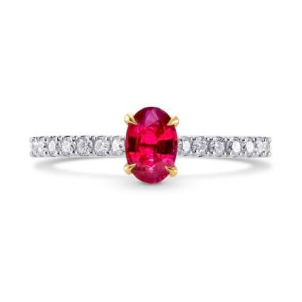 Бриллиантовое кольцо с овальным рубином 0.52 карат