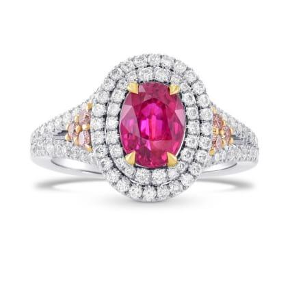 Бриллиантовое кольцо с рубином 1.53 карат