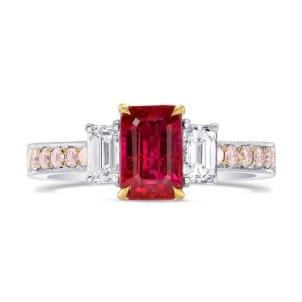 Кольцо с рубином 1.38 карат и розовым бриллиантами