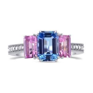 Кольцо с аквамарином 1.09 карат и двумя розовыми бриллиантами
