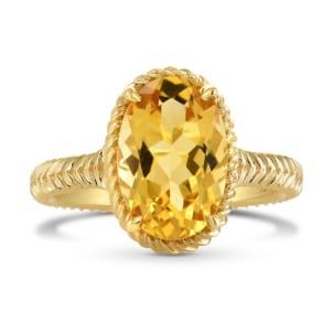 Золотое кольцо с овальным цитрином 2.85 карата