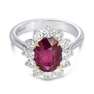 Кольцо с овальным рубином 2.00 карат и бриллиантами