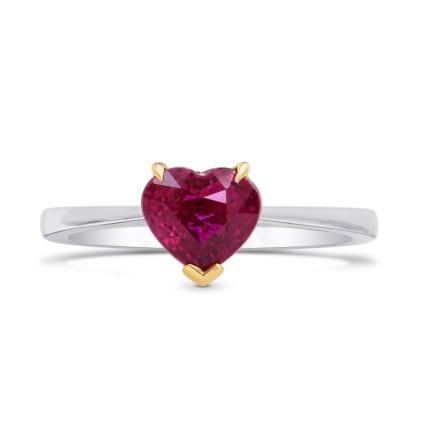 Кольцо с ярко красным рубином 1.43 карат огранка сердце