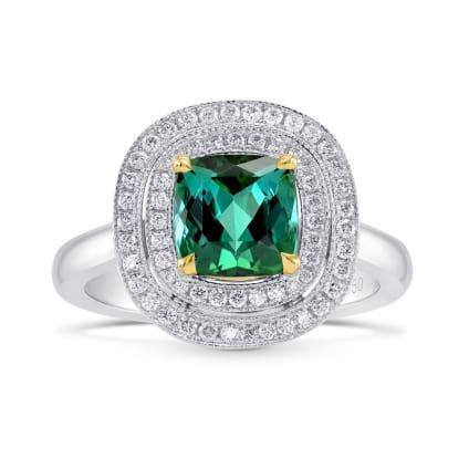 Бриллиантовое кольцо с зеленым турмалином 1.77 карат