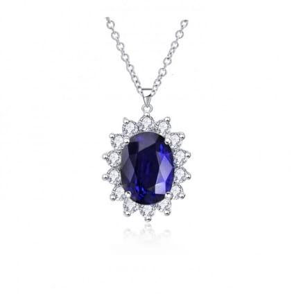 Бриллиантовый кулон с большим ярко синим сапфиром 2.77 карата