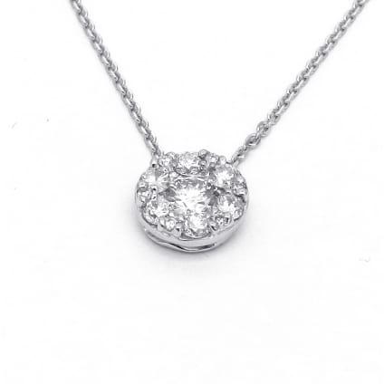 Оправа бриллиантовый кулон с центральным камнем 0.5 карат