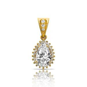 Подвеска красное золото с бриллиантом Капля