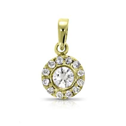 Подвеска с бриллиантом в ободке из желтого золота