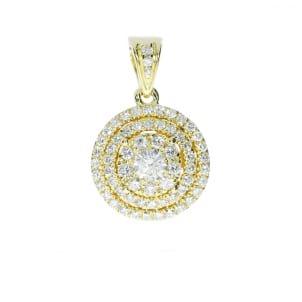 Кулон желтое золото с бриллиантом 1 карат