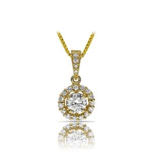 Бриллиантовый кулон из желтого золота