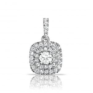 Кулон с двойным ободком и круглым бриллиантом