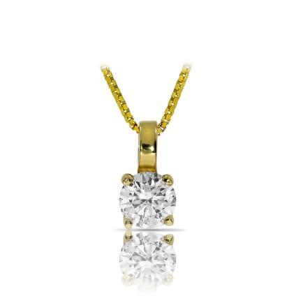 Подвеска желтое золото с бриллиантом 1 карат