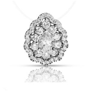 Кулон с центральным бриллиантом грушевидной огранки