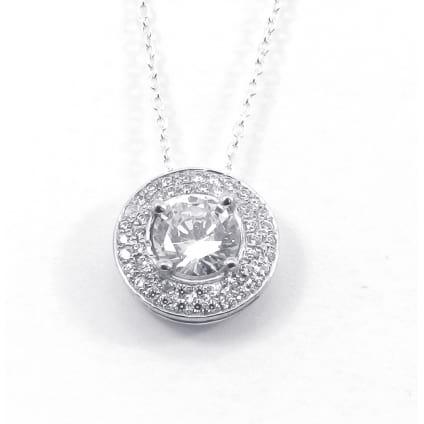 Оправа кулон белое золото бриллиант 1 карат в двойном ободке