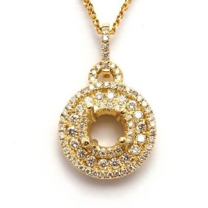 Оправа из красного золота подвеска для бриллианта 1 карат