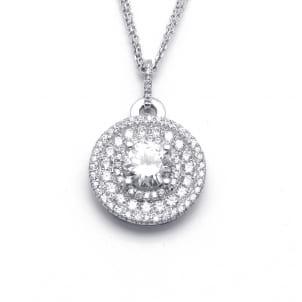 Шикарная бриллиантовая подвеска с центральным камнем