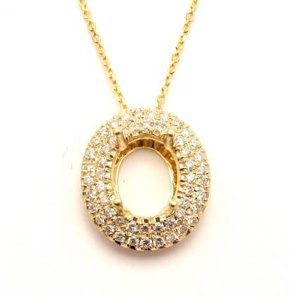 Оправа из красного золота кулон для овального бриллианта