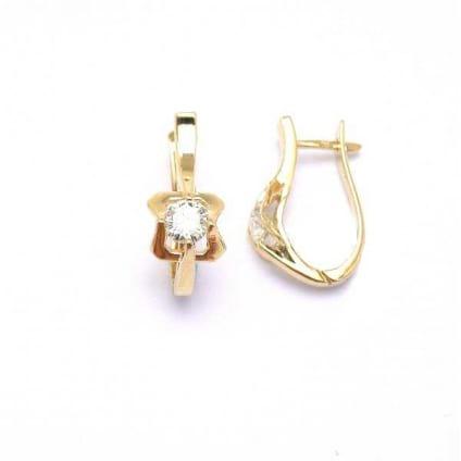 Оправа серьги классические розовое золото с бриллиантом