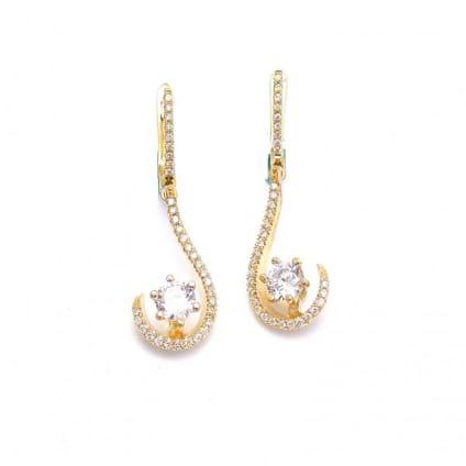 Оправа длинные серьги из золота с бриллиантами
