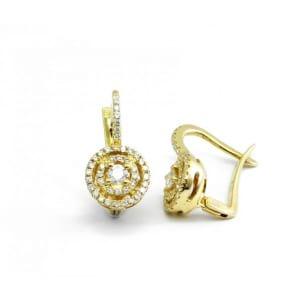 Оправа серьги из желотого золота с бриллиантами от 0.3 карата