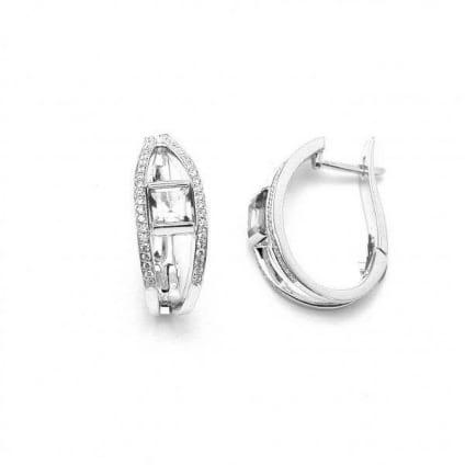 Оправа серьги с бриллиантами формы огранки Принцесса