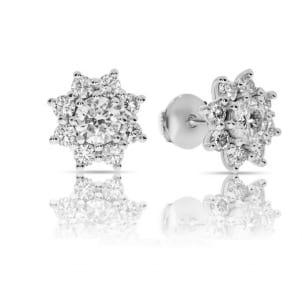 Пусеты с центральными бриллиантами 2 карата