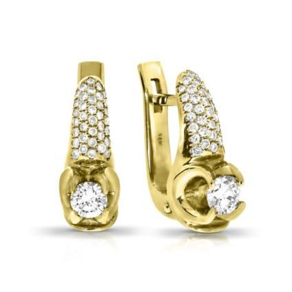 Серьги желтое золото с бриллиантами от 0.5 карат