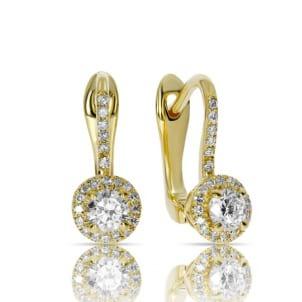 Серьги желтое золото с центральными круглыми бриллиантами