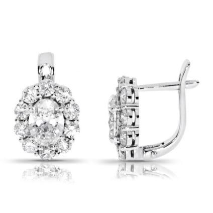 Серьги с овальным бриллиантом в касте с ободком
