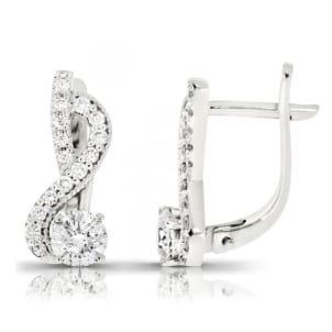 Изящные серьги бриллиантами 1 карат