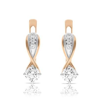 Серьги комбинированное золото с бриллиантами от 0.5 карат