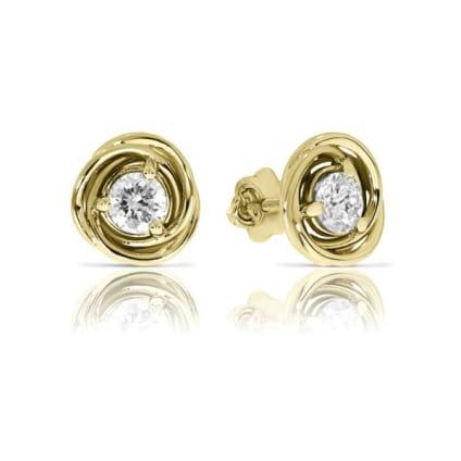Золотые пусеты с бриллиантами от 0.5 карата