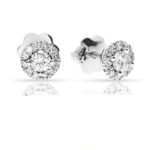 Серьги гвоздики с бриллиантами 1 карат