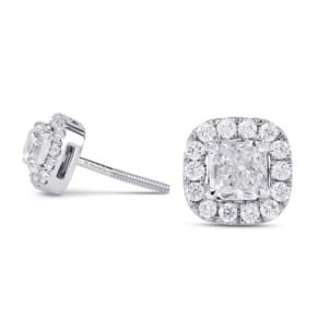 Оправа: серьги гвоздики с бриллиантами фантазийной огранки