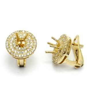 Оправаа серьги желтое золото с бриллиантами по 0,3 карата