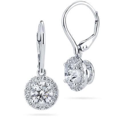Оправа серьги для круглых бриллиантов 1 карат