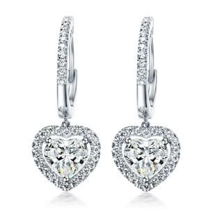 Оправа висячие серьги с бриллиантами огранки Сердце